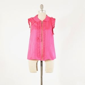 Marc by Marc Jacobs Hot Pink Pleated Silk Blouse